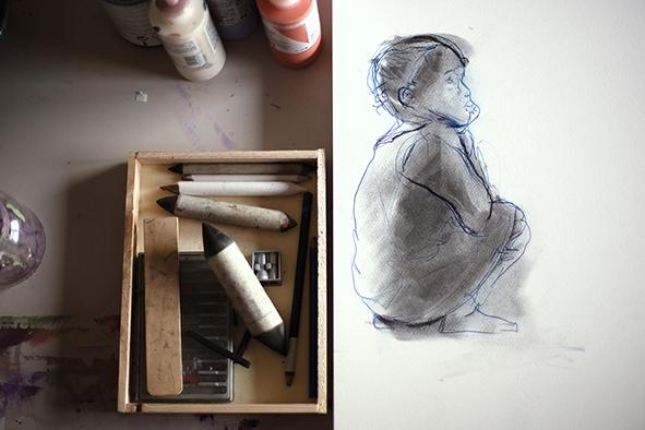Boceto hecho con lápiz y carboncillo